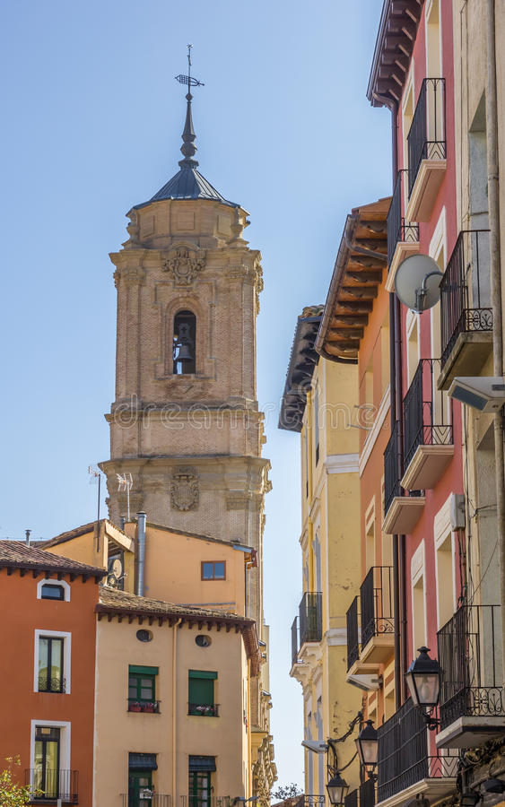 Colorful houses and San Lorenzo church in Huesca stock photos