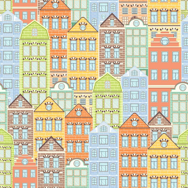 Colorful houses seamless pattern, city background, urban landscape. Multicolored bright European brick house, flat drawing, stock illustration