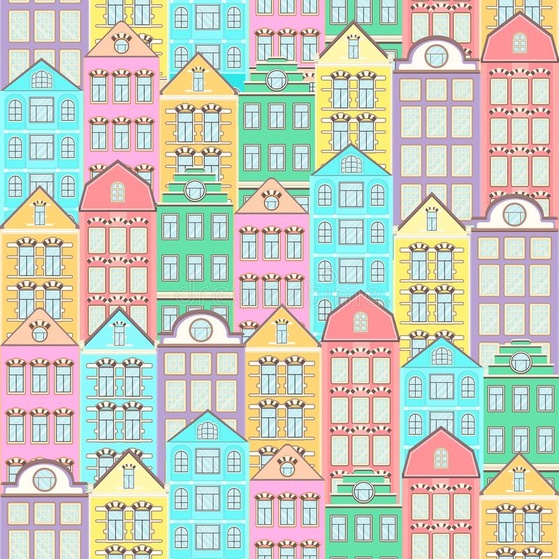 Colorful houses seamless pattern, city background, urban landscape. Multicolored bright European brick house, flat drawing, archit stock illustration