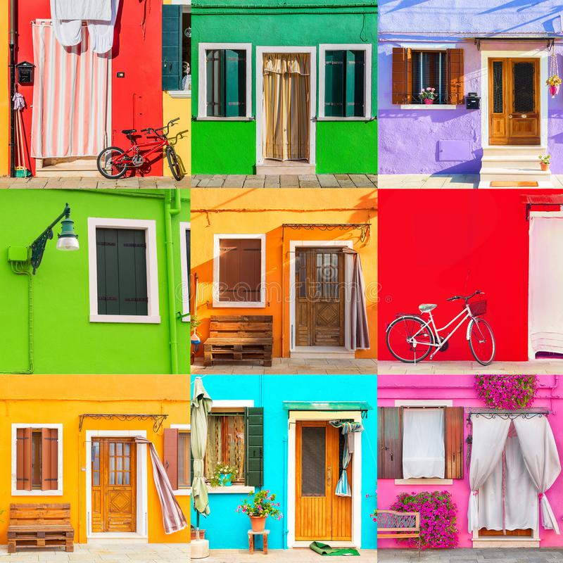 Colorful houses set in Burano island near Venice, Italy. Venice postcard. Famous attraction place for european tourism and travel royalty free stock photography