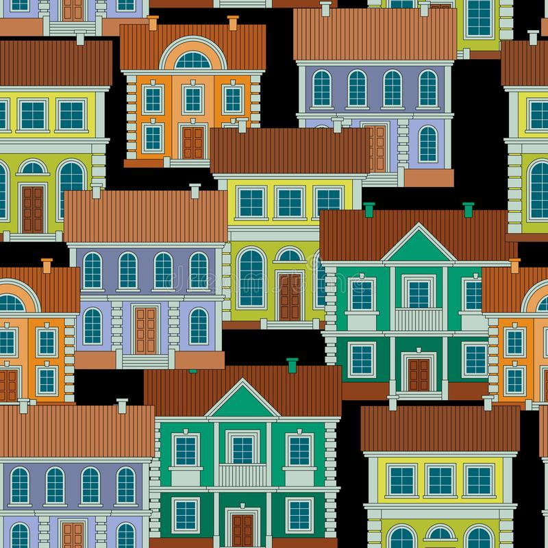 Set of colorful houses. Flat style Vector Seamless Pattern. royalty free stock photos