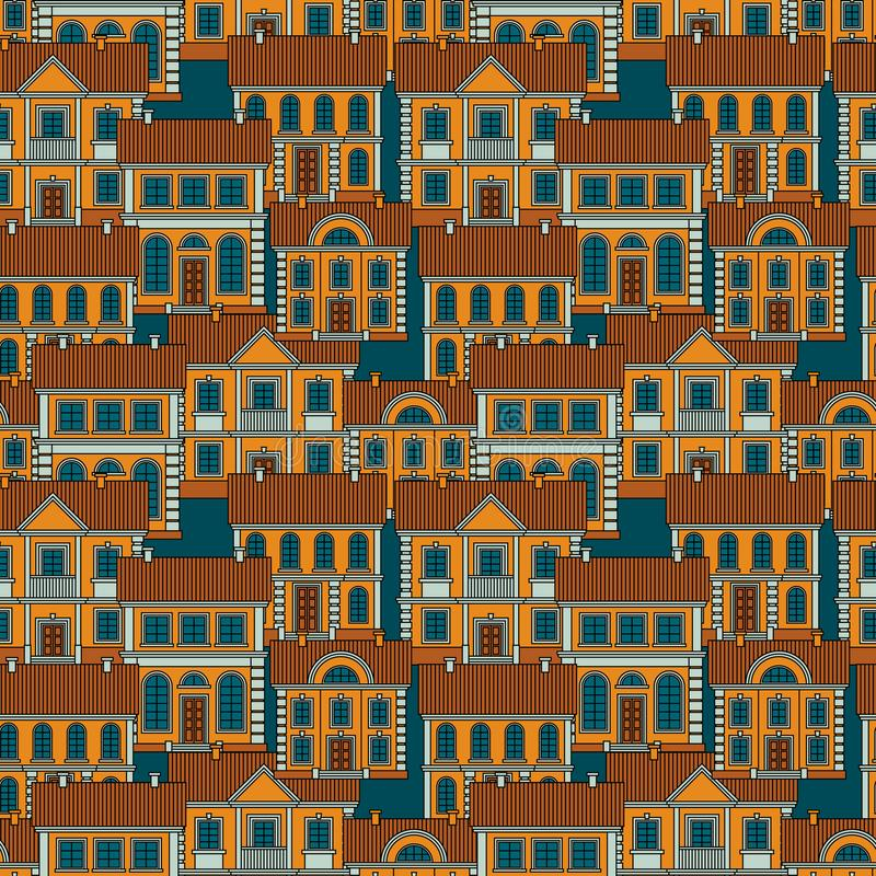Set of colorful houses. Flat style Vector Seamless Pattern. royalty free stock images