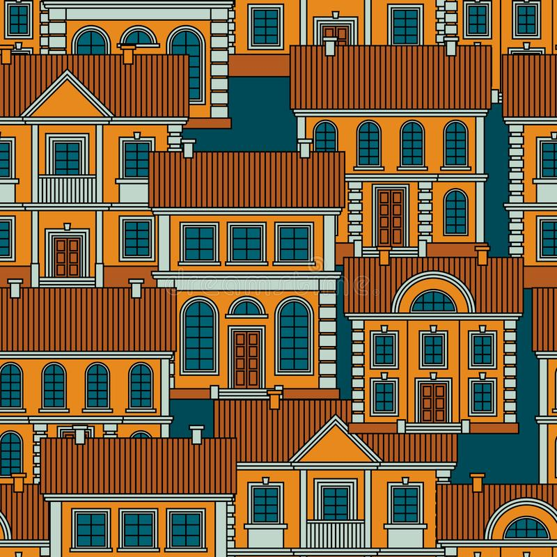Set of colorful houses. Flat style Vector Seamless Pattern. stock photo