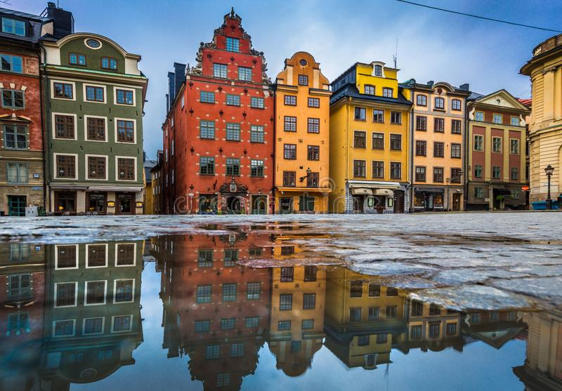 Colorful houses in Stockholm`s Gamla Stan old town district, Sweden royalty free stock photo