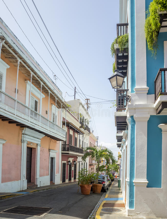 Colorful houses and street of Old San Juan stock image