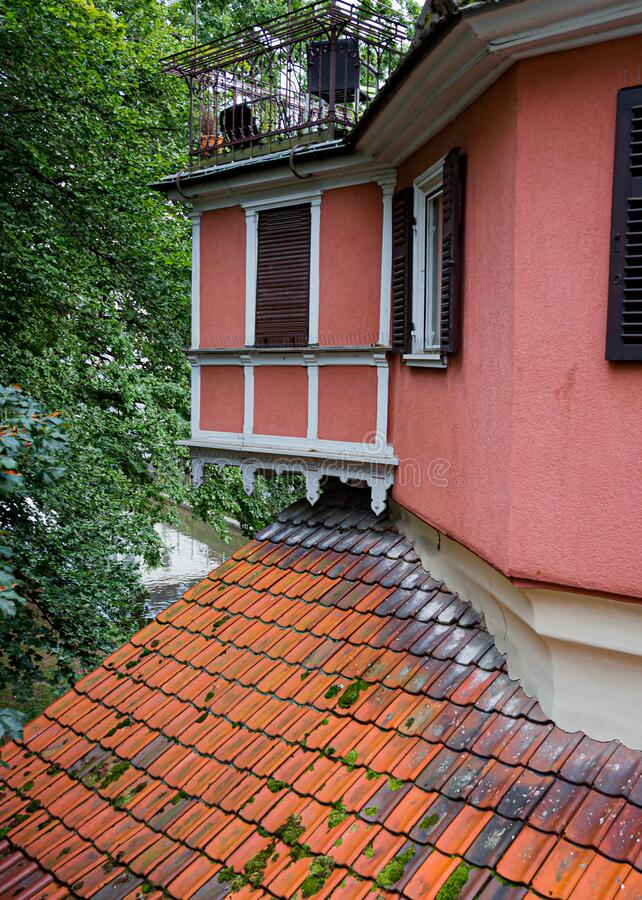 Colorful, houses with tiled roofs in Esslingen. Germany royalty free stock image