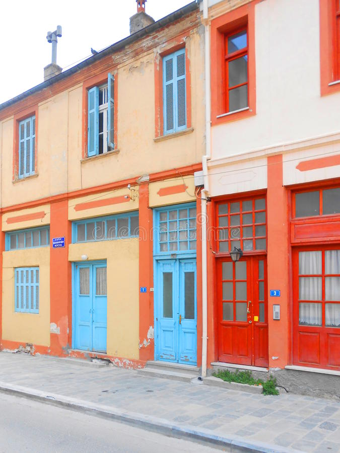 Colorful houses. In the town of Florina, Greece royalty free stock photos