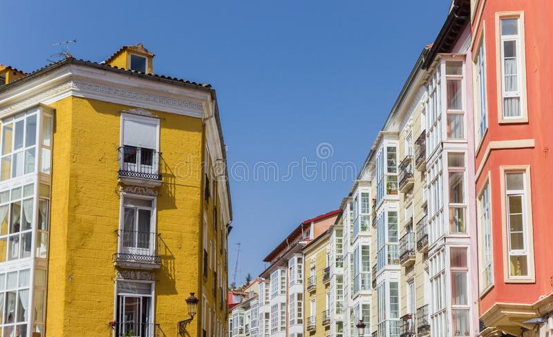 Colorful houses with traditional Bay windows in Burgos. Spain stock image