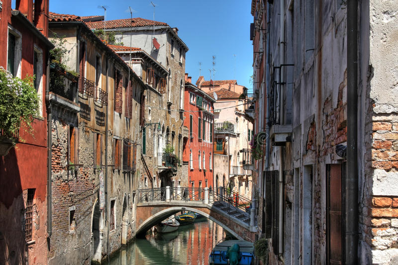 Colorful Houses On In Venice (HDR) Stock Photos