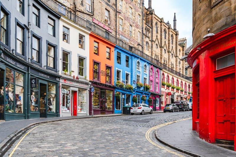 Victoria Street In Old Town, Edinburgh, Scotland. Colored Street ...