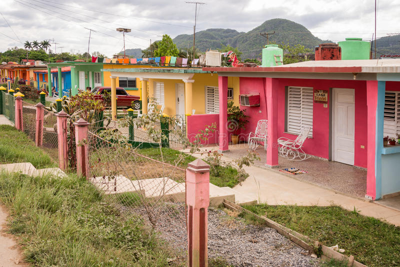 Colorful houses in Vinales Cuba royalty free stock photography