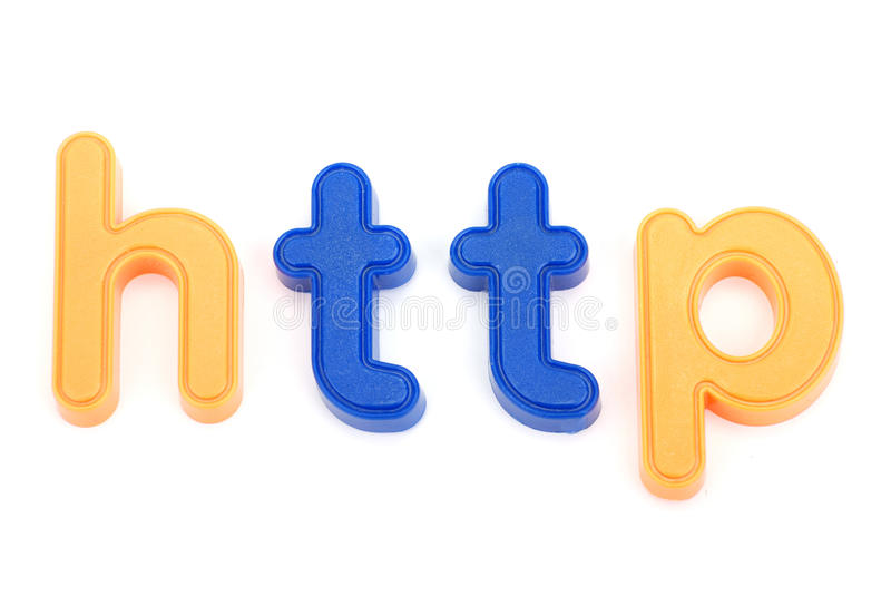 Colorful http letters. Plastic letter word http on the white background royalty free stock images