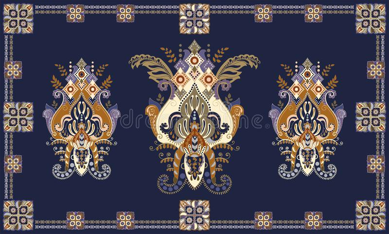 Colorful hungarian vector design for rug, towel, carpet, textile, fabric, cover. Floral stylized decorative motifs stock illustration