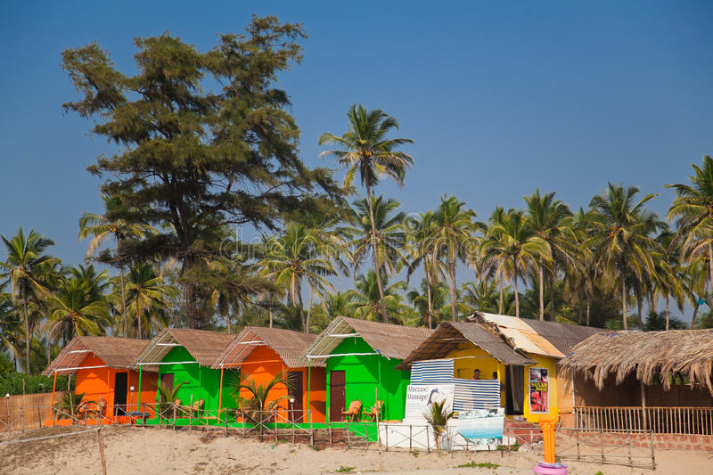Colorful huts on the beach royalty free stock images