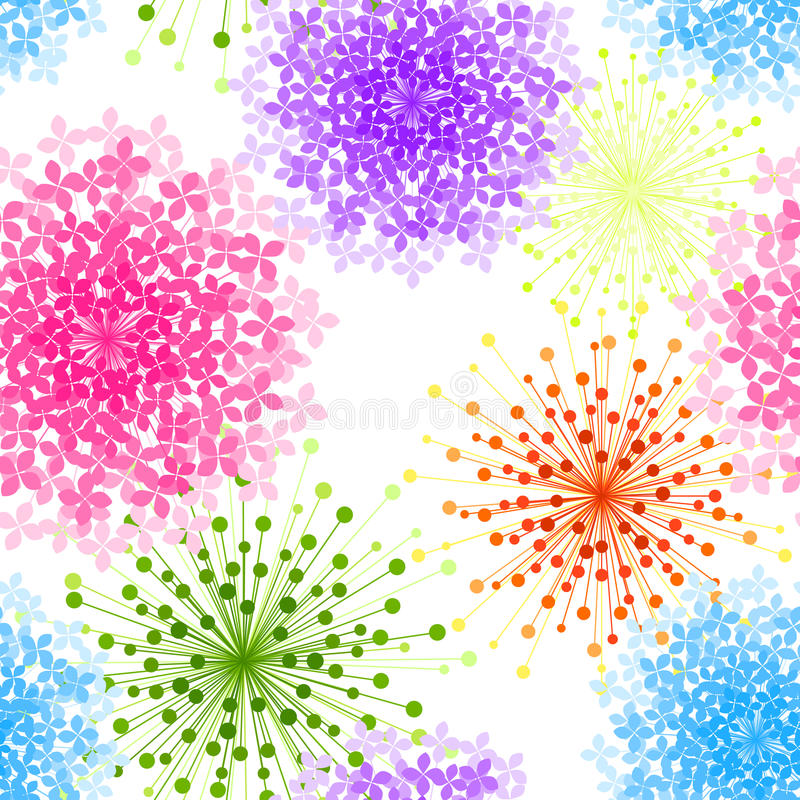 Colorful Hydrangea Flower Seamless Background royalty free illustration