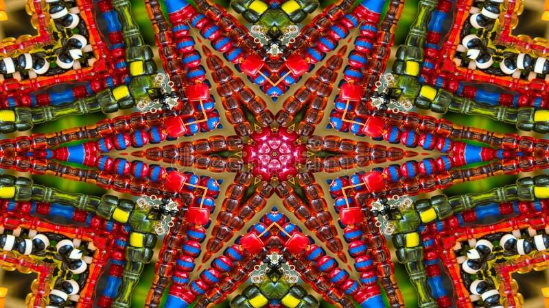 Colorful Hypnotic Symmetric Kaleidoscope stock images