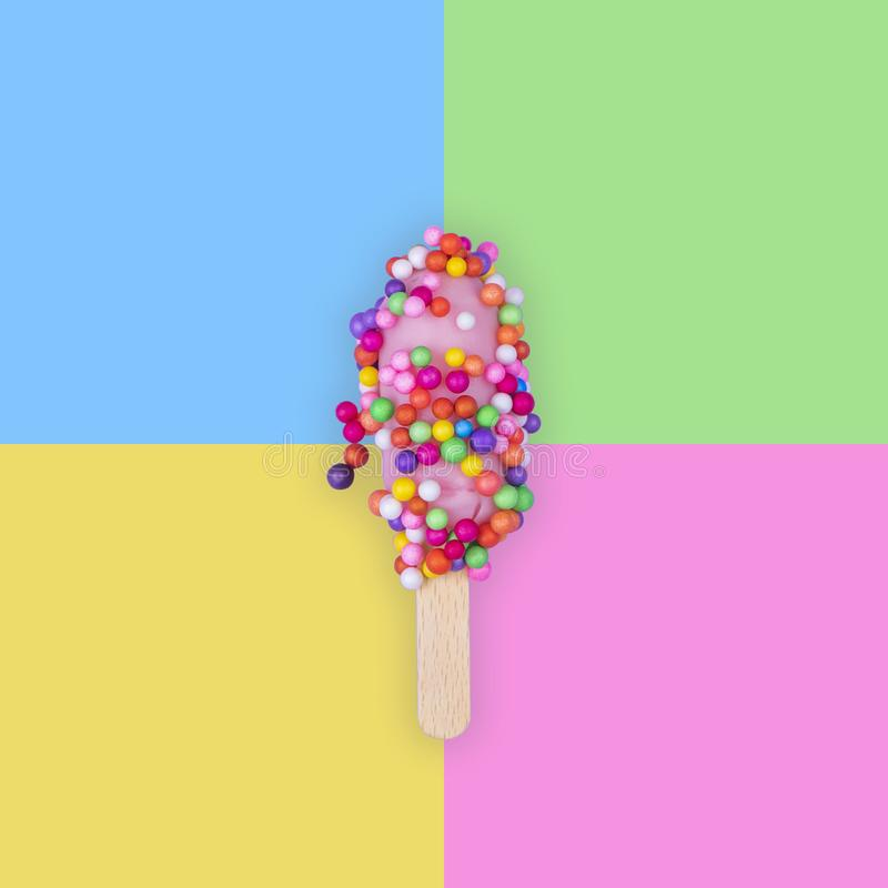 Colorful ice cream on a 4 tone background. Squared abstract summer image royalty free stock photos