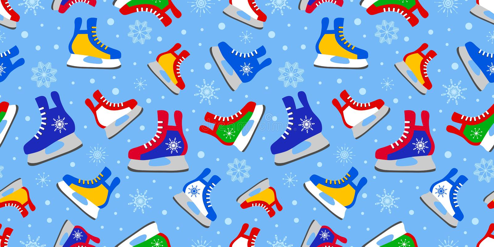 Colorful ice skates seamless pattern. Winter activitiy template wallpaper. Cute childish print. Sports vector illustration. Colore vector illustration