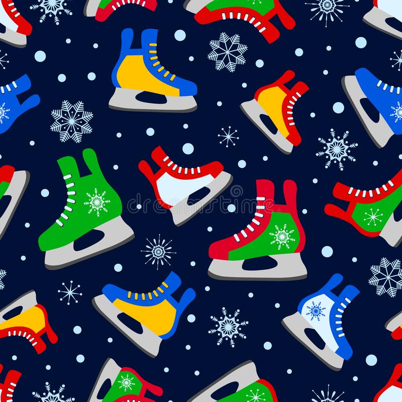 Colorful ice skates seamless pattern. Winter sports vector illustration. Colored ice skates on the dark background vector illustration