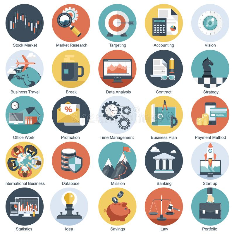 Colorful icon set for business, management, technology and finances. Flat objects for websites and mobile stock illustration