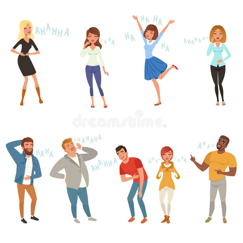 Colorful icon set with loudly laughing people at funny joke. Cartoon men and women characters in casual clothes. Hahaha royalty free illustration