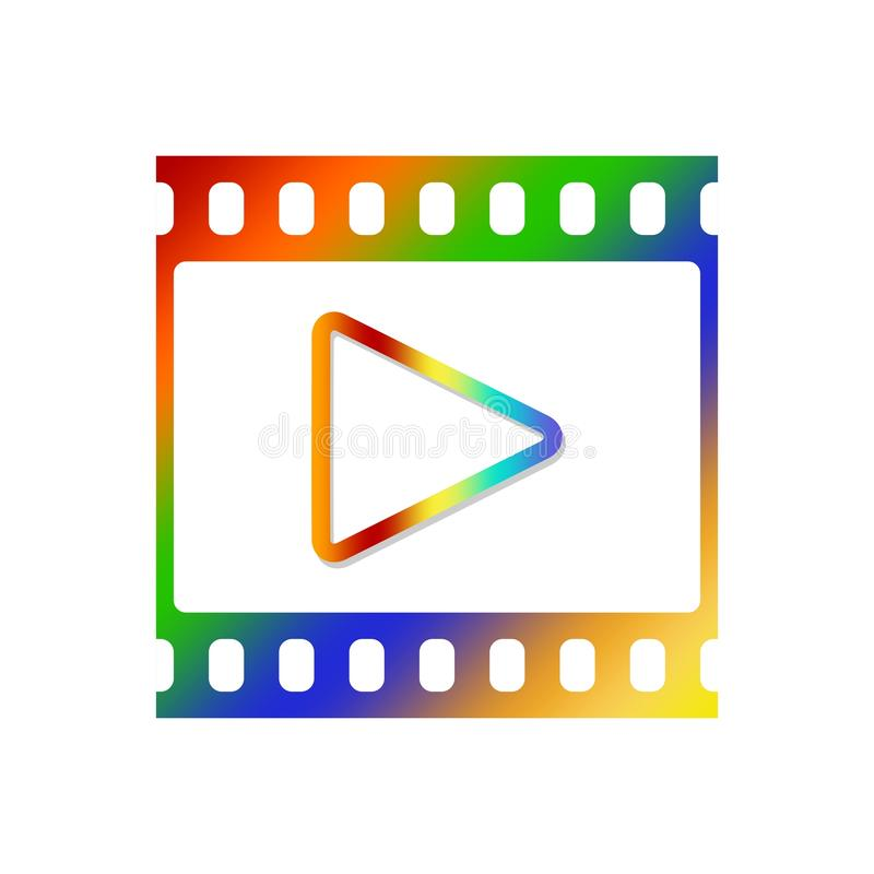 Colorful icon for video player with blank movie and photo window with color triangle inside on white background vector illustration