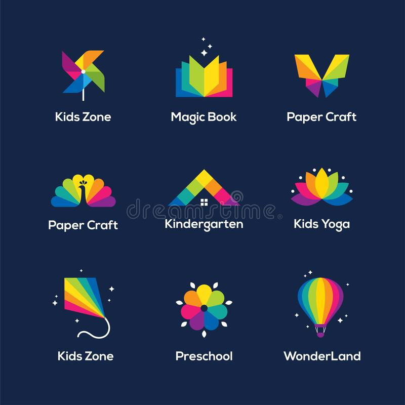 Colorful icons and logo set on dark blue background. Bright colorful icons set with book, windmill toy, butterfly, peacock, house roof, lotus flower, kite and royalty free illustration