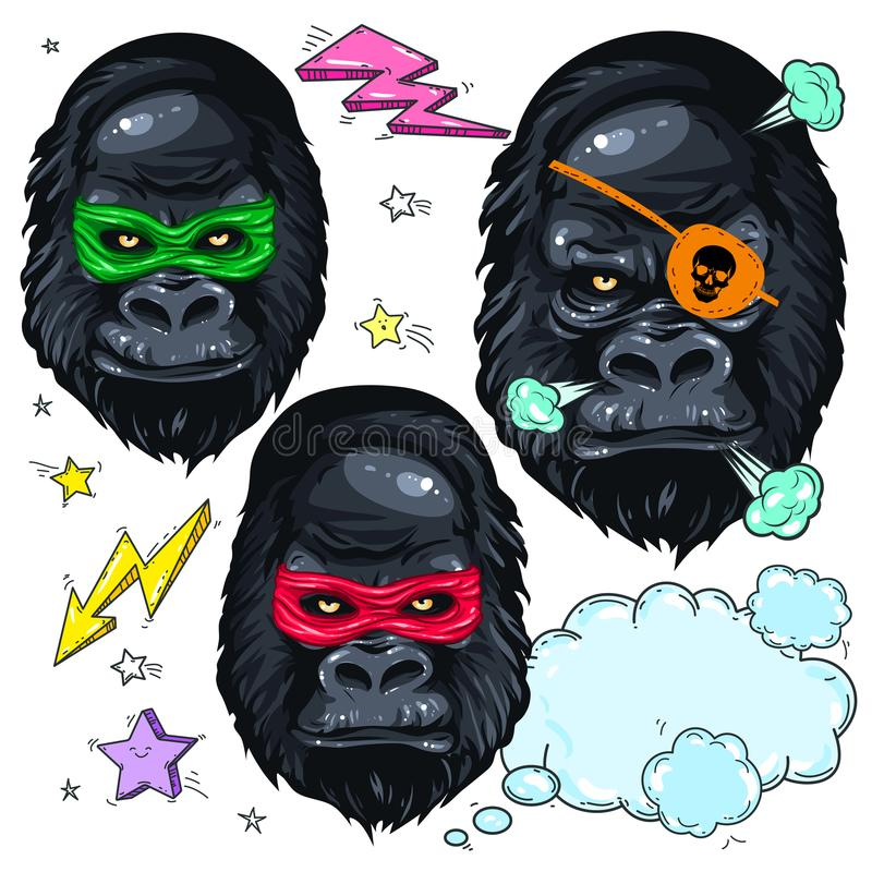 Colorful icons portrait monkey, mask gorilla and pirate gorilla vector illustration