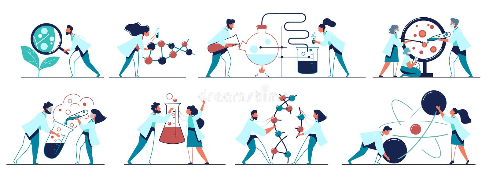 Colorful icons set with biochemical science laboratory staff. Research plant, dna, genome. Performing various experiments and analysis. Flat isolated vector stock illustration