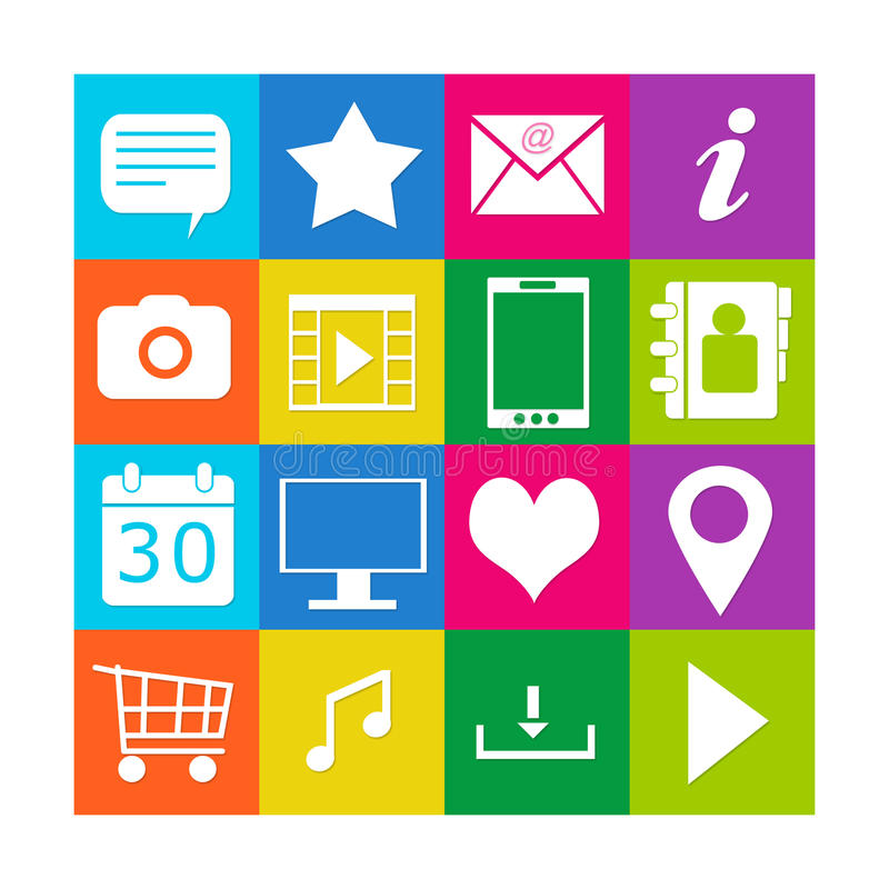 Download Colorful icons for web stock illustration. Illustration of button - 39506679