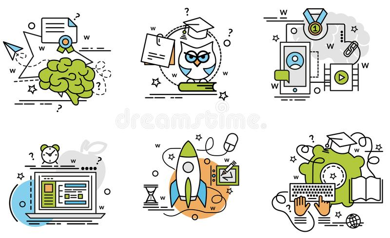 Set of outline icons of E-Learning. stock illustration