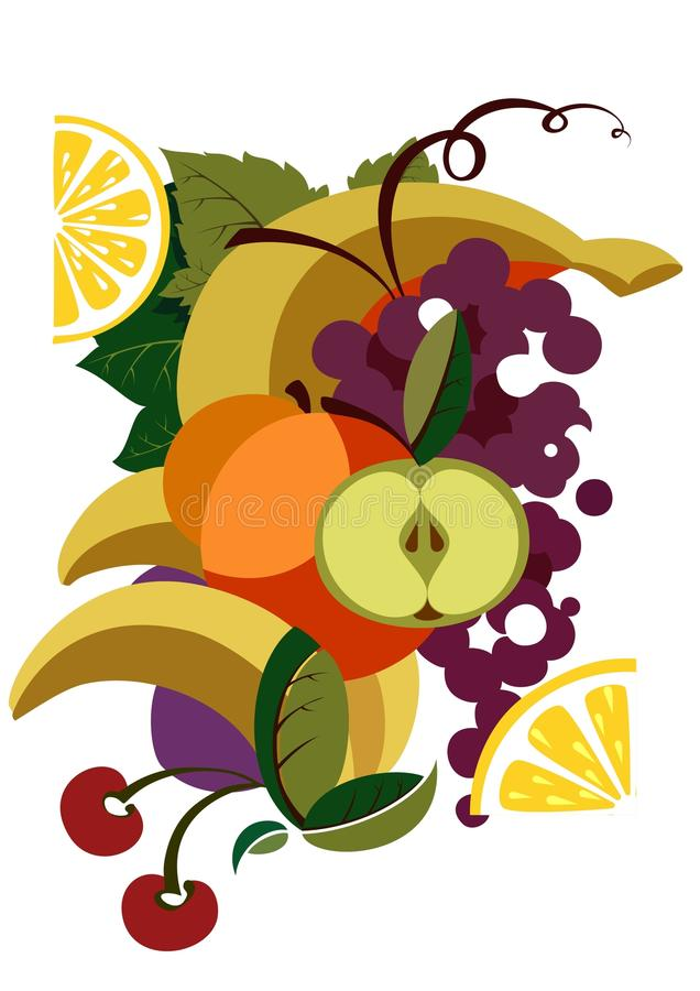 Colorful Illustrated Fruit Royalty Free Stock Image