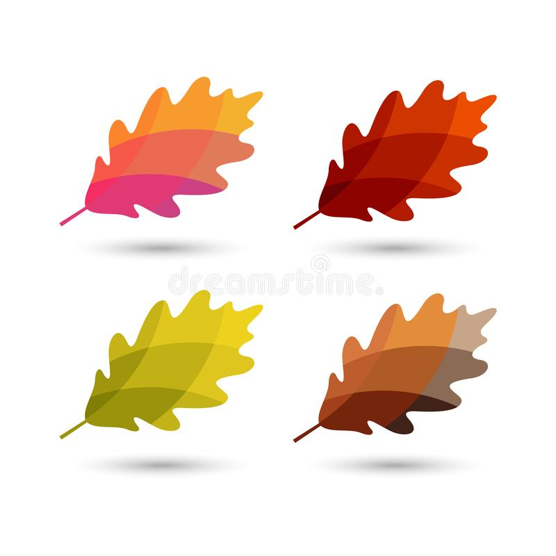 Colorful illustrated oak leaves royalty free illustration