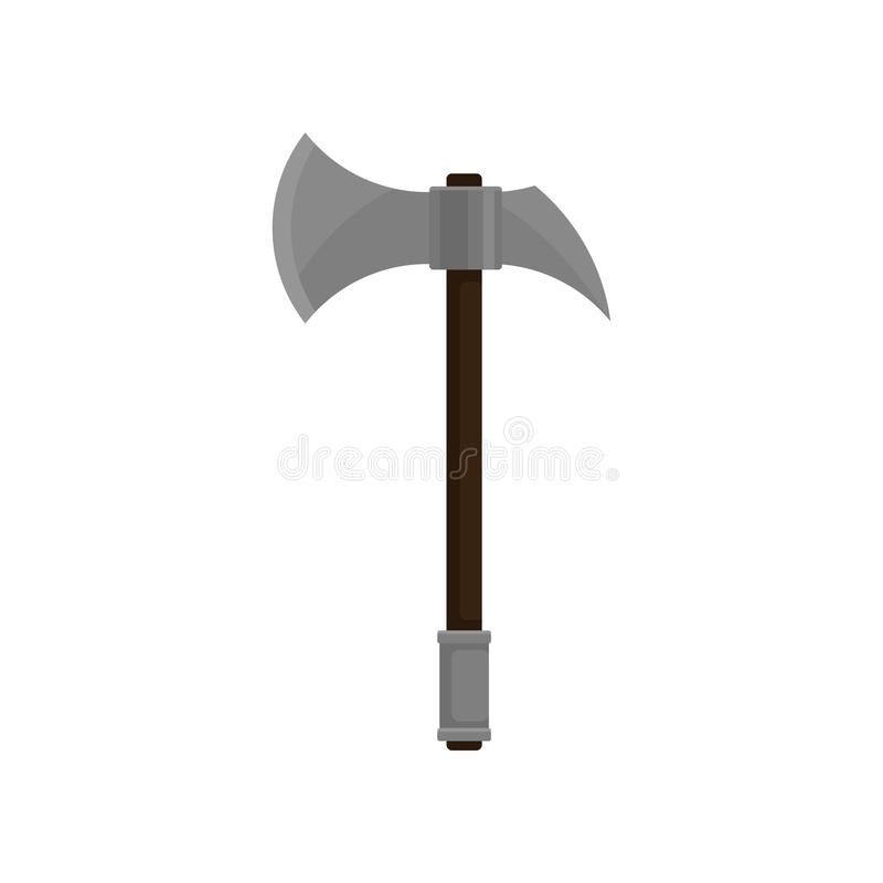 Battle axe with sharp steel blade and wooden grip. Medieval weapon. Flat vector design vector illustration