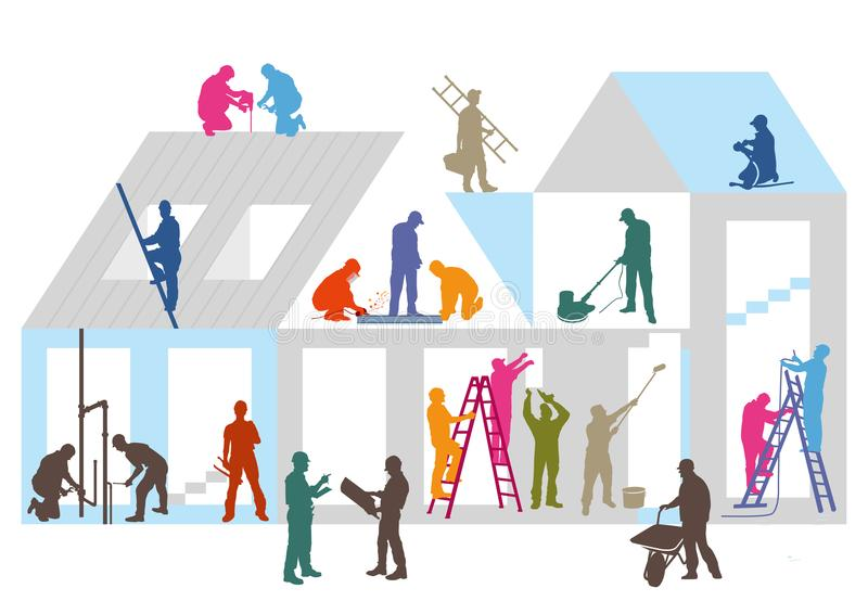 Construction site and workers. Colorful illustration of building under construction with workers and tradesmen on site including roofers, decorators, heating stock illustration