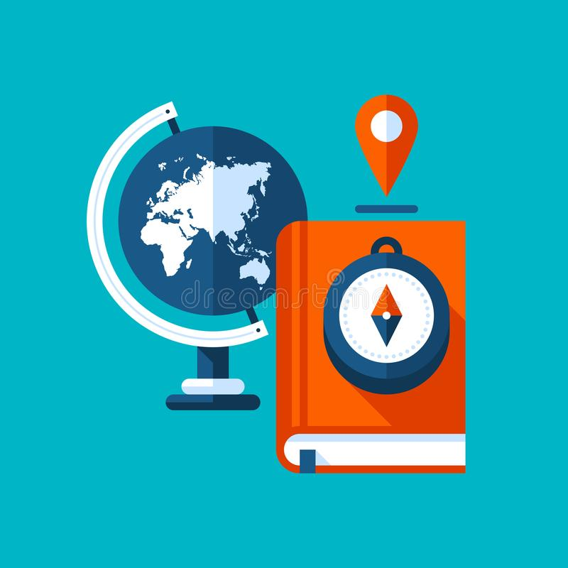 Colorful illustration about geography in modern flat style. College subject icon. Globe, book, compass. Colorful illustration about geography in modern flat royalty free illustration