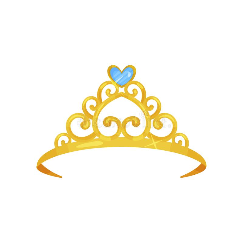 Colorful illustration of golden princess crown. Precious head accessory. Shiny queen tiara decorated with beautiful blue royalty free illustration