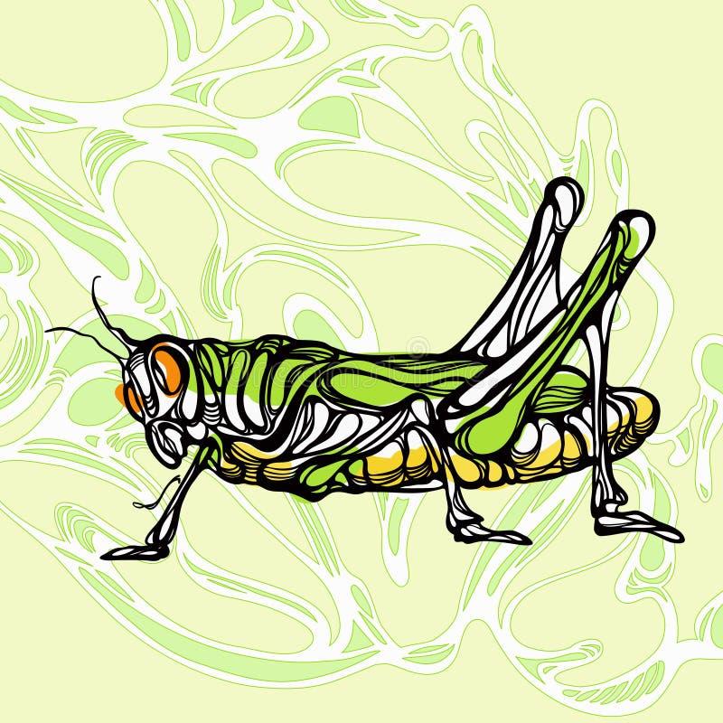Colorful illustration of grasshopper 1. A colorful illustration of grasshopper in vector format royalty free illustration