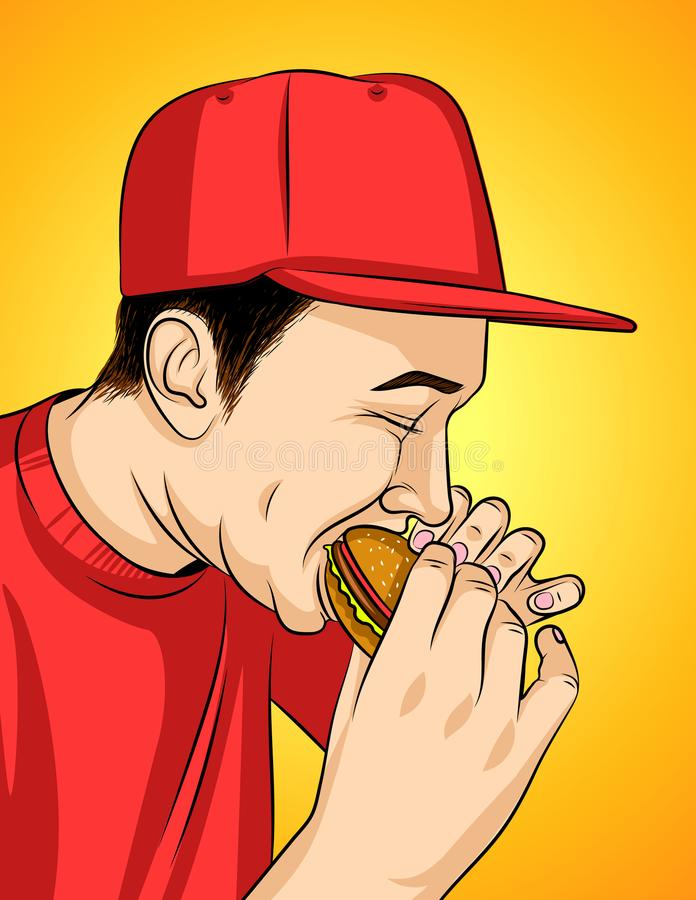 Colorful illustration of a guy eating junk food. Man in a red cap holding burger in his hand. Unhealthy eating man in profile with open mouth and closed eyes vector illustration