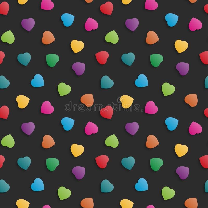 Colorful illustration hearts pattern seamless background stock illustration