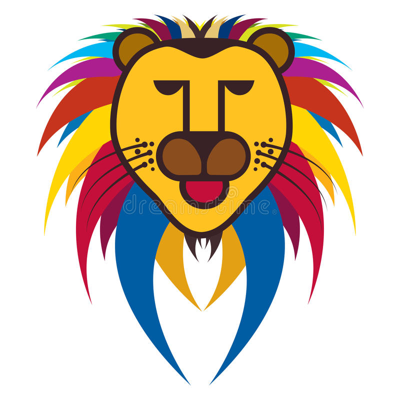 Colorful illustration of king of jungle - Lion royalty free illustration