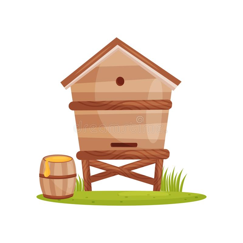 Large wooden beehive and barrel with sweet honey. Bee house. Farm and apiary theme. Cartoon vector design stock illustration