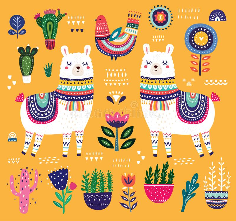 Colorful illustration with llama royalty free illustration