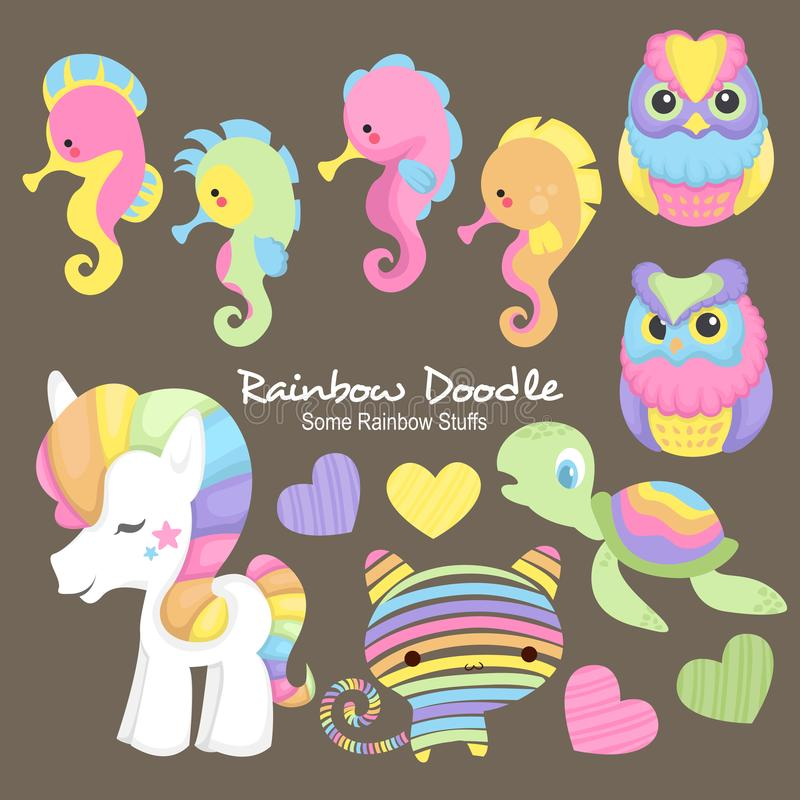 Rainbow Doodle Collection royalty free illustration