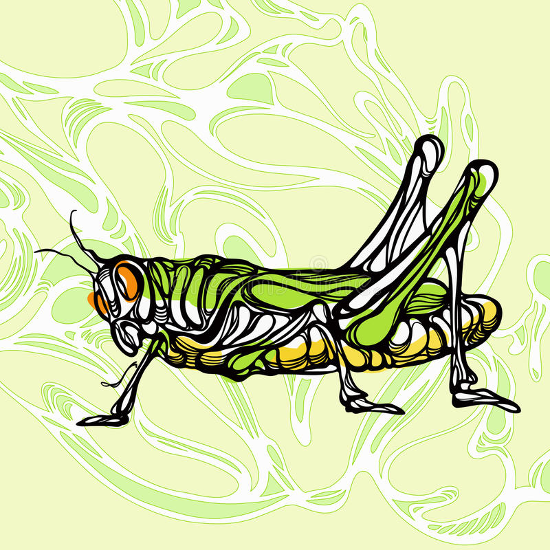 Free Colorful Illustration Of Grasshopper 1 Royalty Free Stock Photo - 48985065