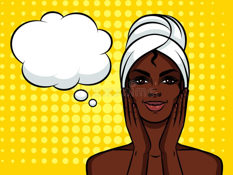Colorful illustration of pretty african american girl with towel on her head . stock illustration