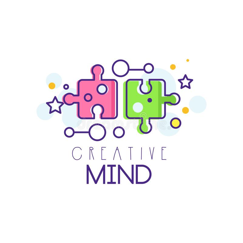 Colorful illustration with puzzle pieces. Symbol of creative mind and thinking. Learning and education concept. Linear royalty free illustration