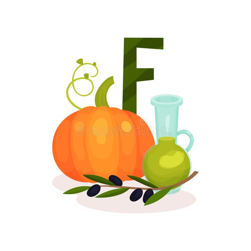 Ripe pumping, brunch of olives and bottle of oil. Products containing vitamin F. Healthy nutrition and diet theme. Flat vector illustration
