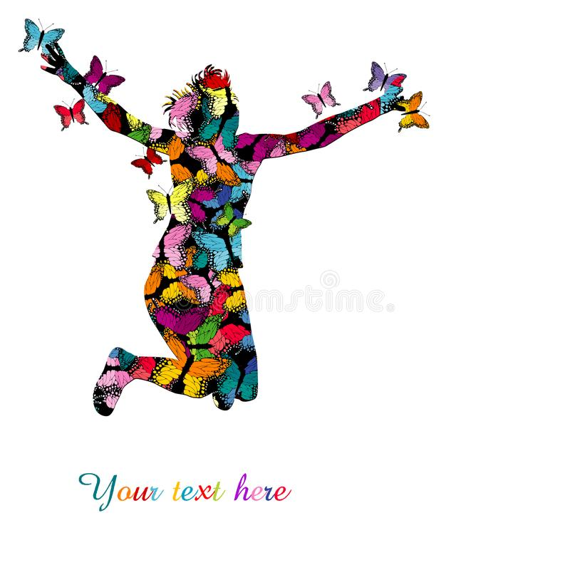 Colorful illustration with silhouette of woman jumping and colo. Red butterflies stock illustration
