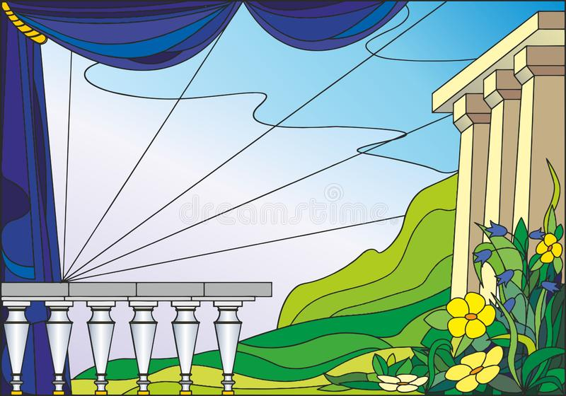 Colorful illustration, in stained glass style - landscape with flowers and columns against the sky and mountains stock illustration
